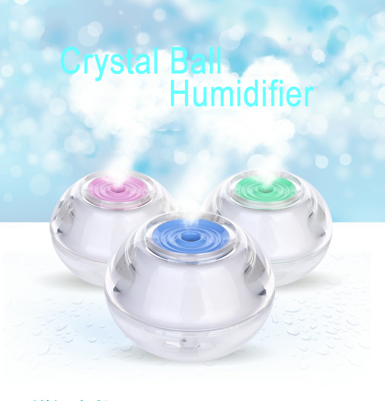 Portable Crystal Ball Air Humidifier Beautiful Night Light Diffuser USB Mist Maker Fogger night light desktop mini portable automatic power off humidifier air humidificador mist maker usb diffuser