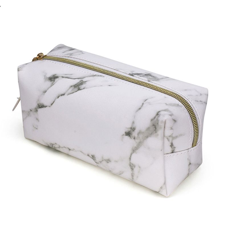 Women Marble Zipper Tassel Purse Travel Makeup Cosmetic Bag 2019 Fashion Toiletry Pencil Case Stationery Organizer