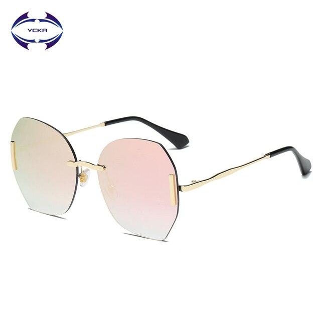 802e422c4 VCKA Luxo Sem Aro Do Vintage Óculos De Sol Das Mulheres Marca Designer  Oversized Retro Feminino de Para óculos Da Senhora 2019