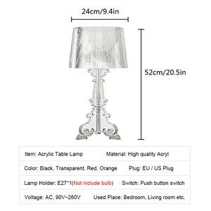 Image 5 - Lampe de chevet en acrylique transparente, 20 pouces, à haut Accent, éclairage LED, Table de chevet, pour chambre à coucher, salon, prise US et ue E27