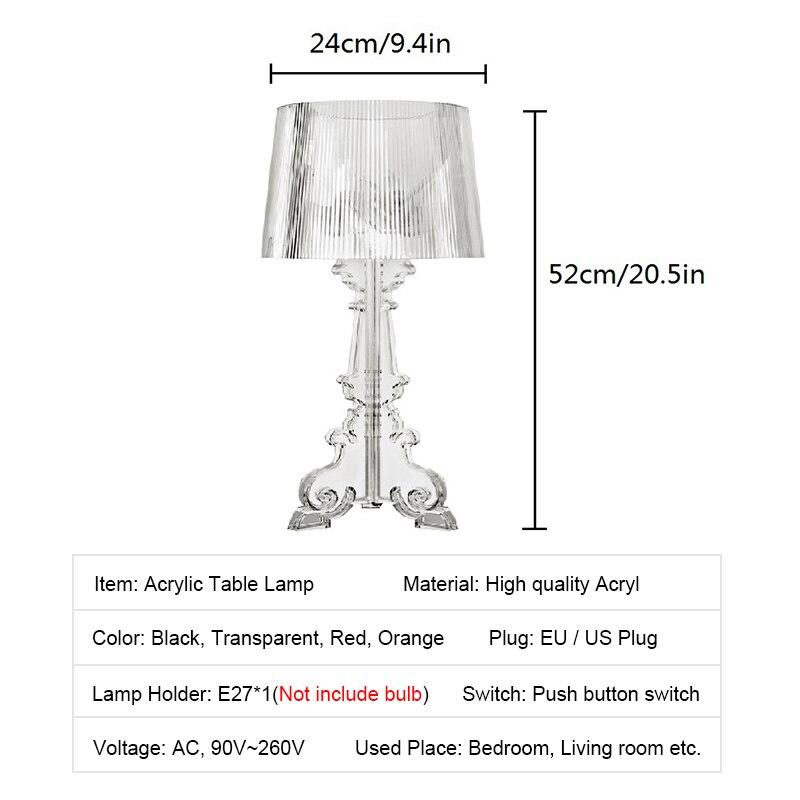 """Image 5 - Przezroczysty akrylowy 20 """"wysoki akcent lampa stołowa przezroczysta lampka nocna LED kryształ sypialnia lampka nocna salon wtyczka do usa ue E27Lampy stołowe   -"""