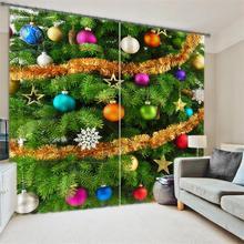 Christmas Door Curtains Room Darkening Drapes 3D Cartoon Printed Kids Window Decor Curtains for Children Bedroom