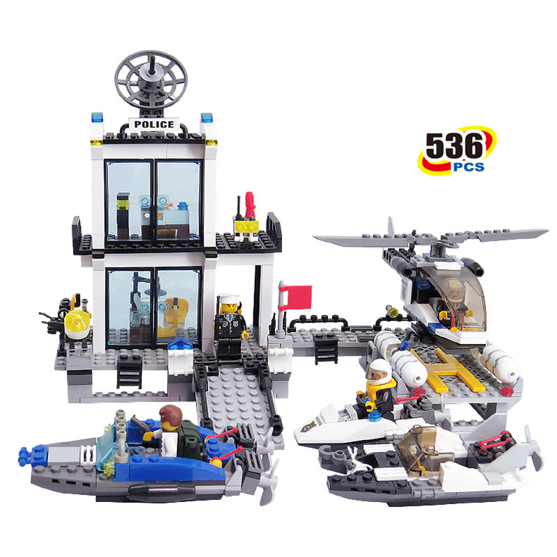 536pcs Police Station Blocks Bricks DIY Building Blocks Set Model Helicopter Speedboat Educational Eduction Toys for Children ninjago juguetes military series armed helicopter blocks decool plastic diy educational bricks building model toys for children