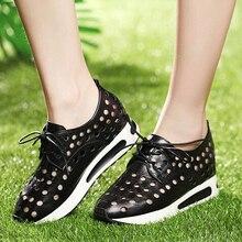 Летняя женская обувь из натуральной кожи на танкетке, увеличивающая рост, увеличивающая рост, с вырезами, на шнуровке, дышащая модная повседневная обувь размер 34-39, SXQ0625
