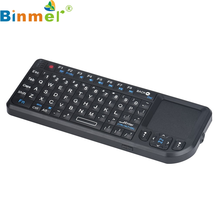 Binmer Mecall RF 2.4 Ghz Mini Wireless Keyboard with Touchpad 3.3V Built - in Laser Pointer