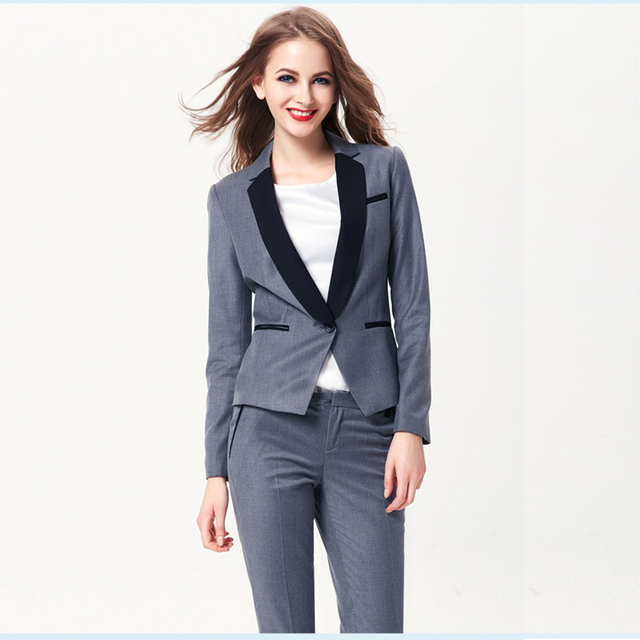 8f8bf480418 New Fashion Gray Autumn Casual Women elegant Slim Single Button Outerwear Suit  Women OL office Tuxedos Suits for wedding outfit