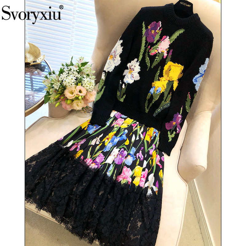 Svoryxiu взлетно посадочной полосы индивидуальный заказ осень зима Вязание пуловеры для женщин женские руководство вышивка цветочный черны