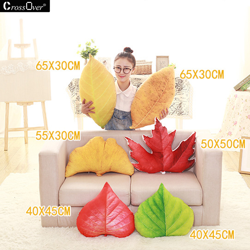 Home Decorative Autumn Leaves Printing plush cushion simulation 3D Yellow Maple Leaves Pillow for Car Sofa Childrens toys