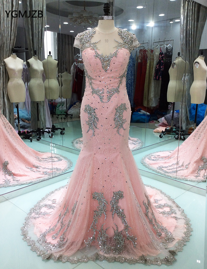 Backless Long   Evening     Dress   Lace 2018 Mermaid Beaded Pearls Pink Women Formal Party   Evening   Gowns Prom   Dress   Robe De Soiree