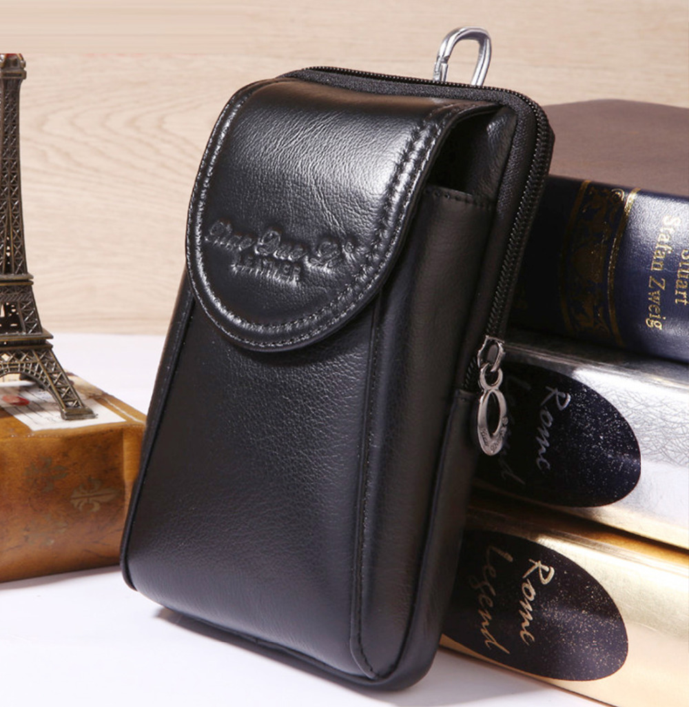 Men Genuine Leather Real Cowhide Cell Mobile Phone Case Cover Purse Cigarette Belt Hip Bum Hook Fanny Bag Waist Pack Father Gift
