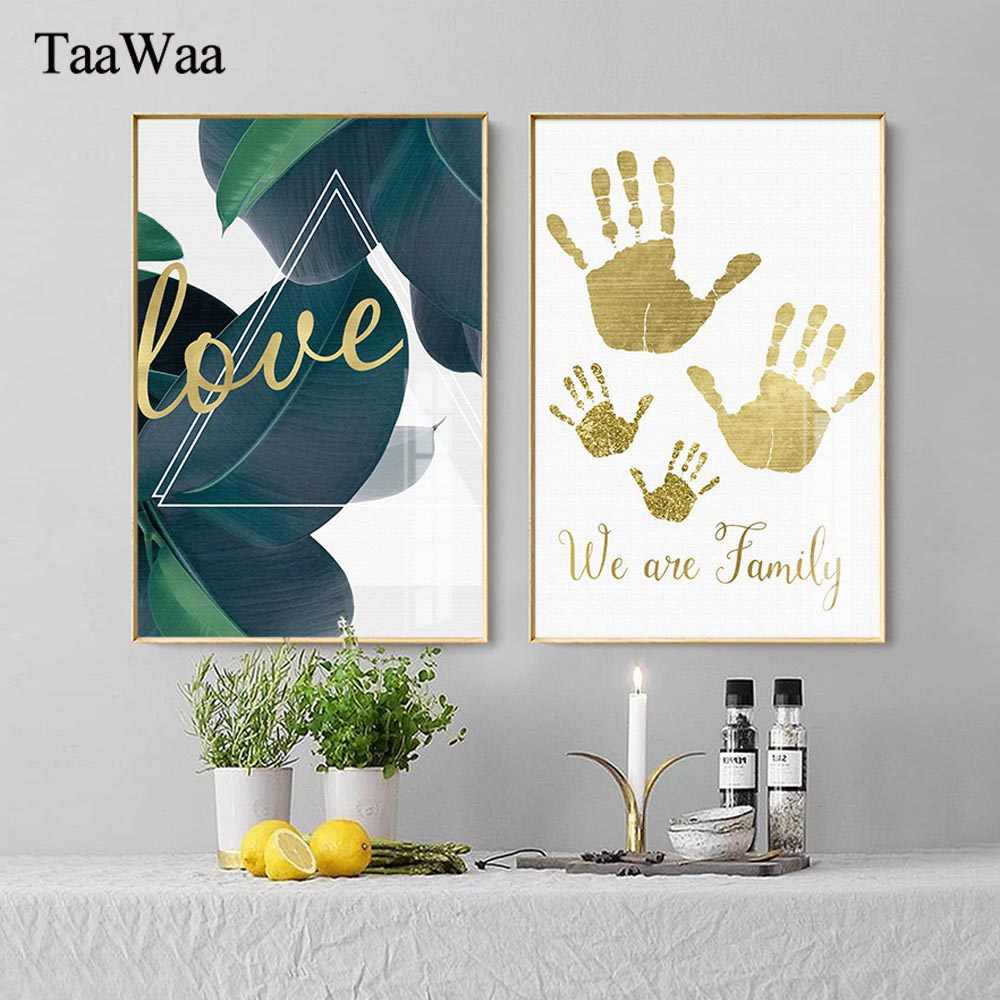 TAAWAA Nordic Decorative Paintings Gold Palm Print Poster Green Leaf Minimalist Letter Wall Art Pictures For Living Room Decor