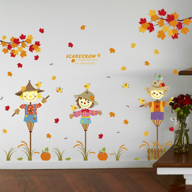 [Fundecor] Maple Tree Scarecrow Bird Wall Stickers TV Wall Decor Kitchen  Baby Room Bathroom