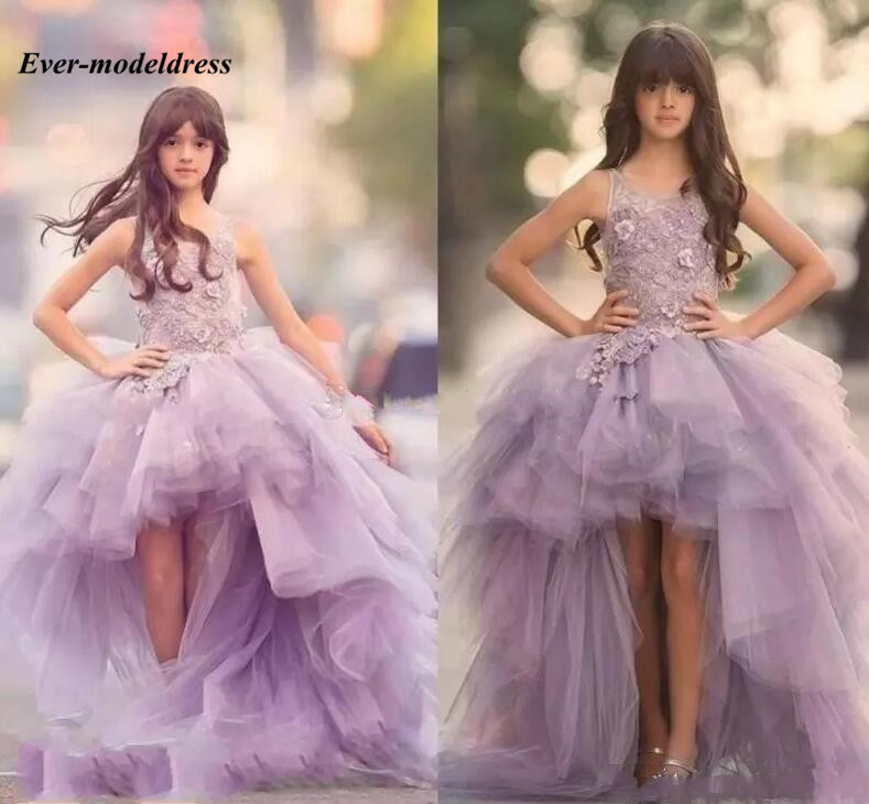 Chic Lavender High Low   Girls   Pageant   Dresses   Appliques 3D Floral Ball Gowns Tiered Tulle   Flower     Girls     Dresses   vestido flores
