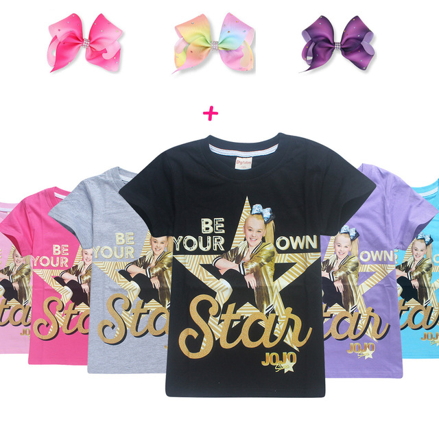 17b7ad0d48bc8 US $4.79 40% OFF|100% Cotton T Shirts for Children 2018 Summer Jojo Siwa  Baby Girls Tops Tees + Hair Bows Toddler Moana Trolls Kids Clothes 6 14y-in  ...
