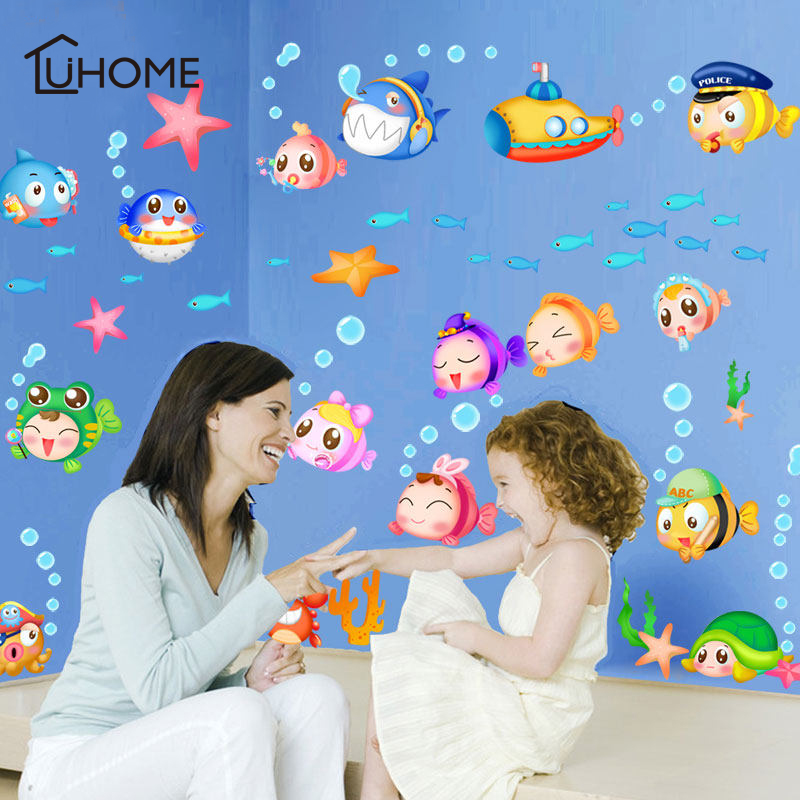 Large Undersea World Vivid Fish Group Wall Decal Art Stickers for Kids Rooms Window Bathroom Decor DIY Living Room Decoration