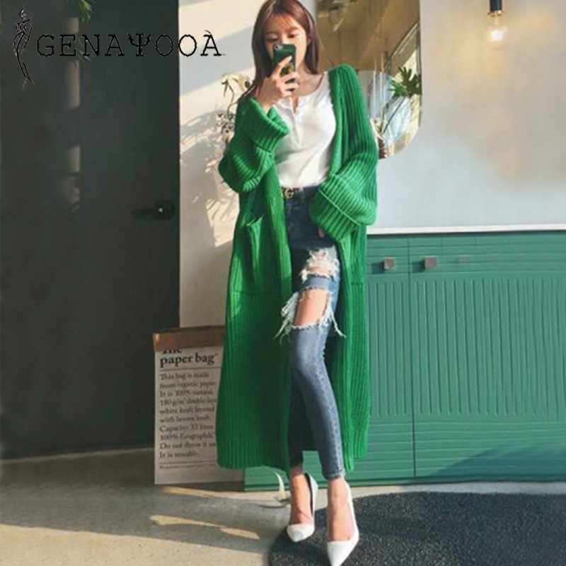 Genayooa Cardigans Women Long Sleeve Oversize Winter Casual Warm Black Knitting Women Sweaters Cardigan With Pocket