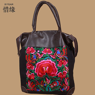 XIYUAN BRAND high quality womans lady soft shoulder floral vintage women embroidery bag embroidered handbags ethnic with beads ethnic embroidered black cami dress for women