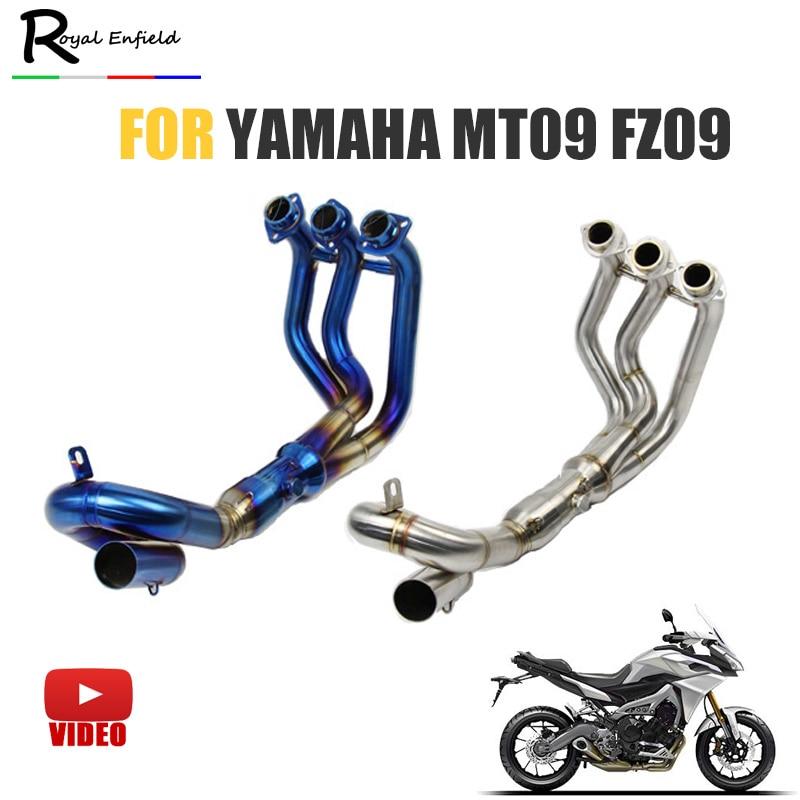 MT09 FZ09 Motorcycle Exhaust Muffler Modified Scooter Front Pipe Slip-On Muffler Exhaust For YAMAHA MT-09 FZ 09 2014-2017 AK078 crash bar mt 09