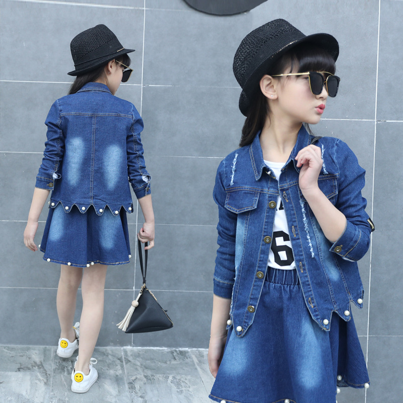 Denim Outfits for Girls Clothes Sets Kids Jeans Jackets & Skirts Suits Children Fall Girls Coat Bottom Clothing Sets 10 12 Years