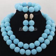 Light Blue African Wedding Lace Beads Jewelry Sets Nigerian Bridal Jewelry Set Fashion Balls Jewelry Sets Free Shipping AMJ929