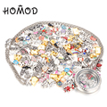 HOMOD 500pcs/lot Mixed Designs DIY Locket Floating Charms for Glass Living Lockets Gift Jewelry Making