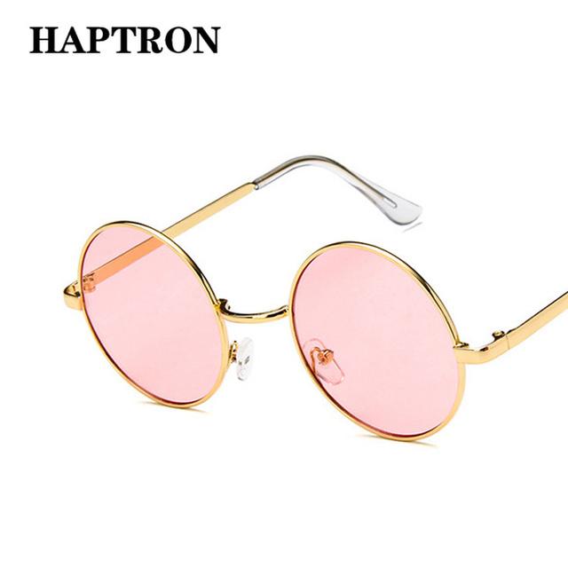 HAPTRON Retro Round Sunglasses Men Women 2018 Brand Designer Luxury pink Green Yellow Black Shades SunGlasses UV400 oculos