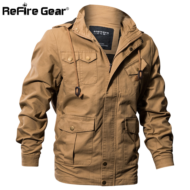 dd32c5220e294 ReFire Gear Air Force Style Military Hoodie Jacket Men Winter Cotton  Tactical Army Bomber Jackets Autumn Casual Cargo Pilot Coat