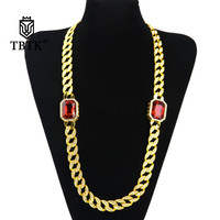 TBTK Gold Miami Cuban Link Chain Zinc Alloy With Two Radiant Red Stones Hiphop Punk Jewelry Trendy Geometric Necklace Women