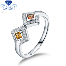 Luxury Natural Yellow Sapphire Real 14K White Gold Fine Jewelry For Anniversary Men's Gift