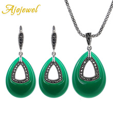 Ajojewel Water Drop Green Resin Vintage Jewelry Sets Antique Silver Plated Earrings And Necklace Set Evening Dress Accessories