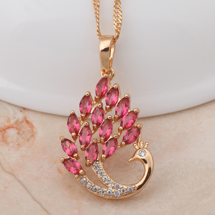 Peacock design 2015 new women accessories Rose Zirconia yellow gold
