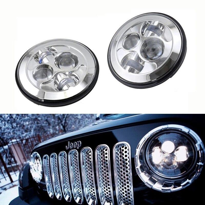 DOT 2 X For Hummer H1 Chrome Bezel 7 Round LED Headlights Hi/Low Beam 40W High Power LED Headlamp for Jee p Wrangler JK цена
