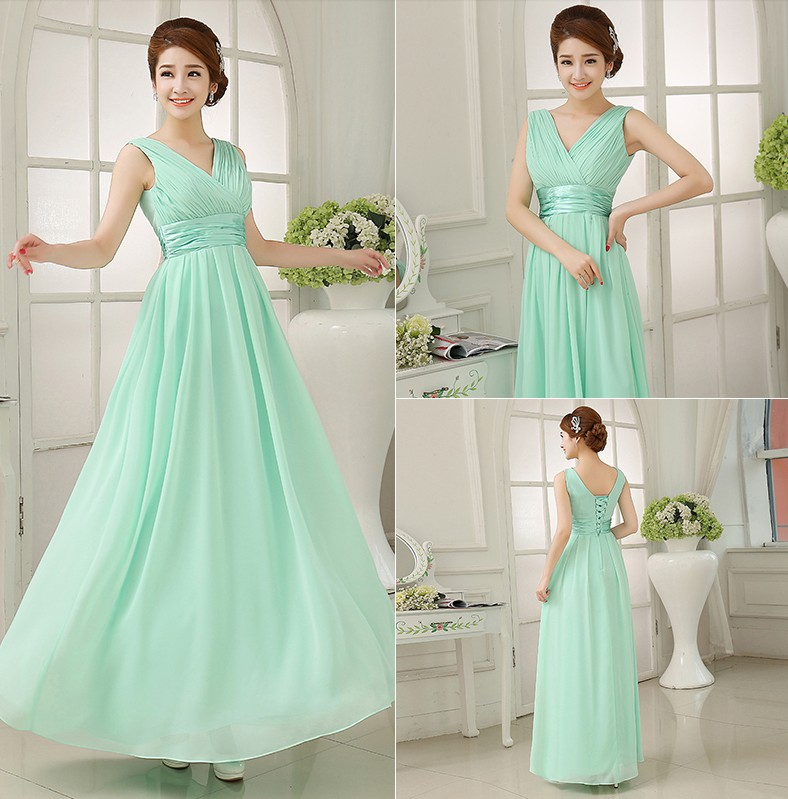 Double Shoulders Bridesmaid Dress A Line Floor Length Light Green Chiffon Long Lace Up Dresses Promotion Sw180328 In From