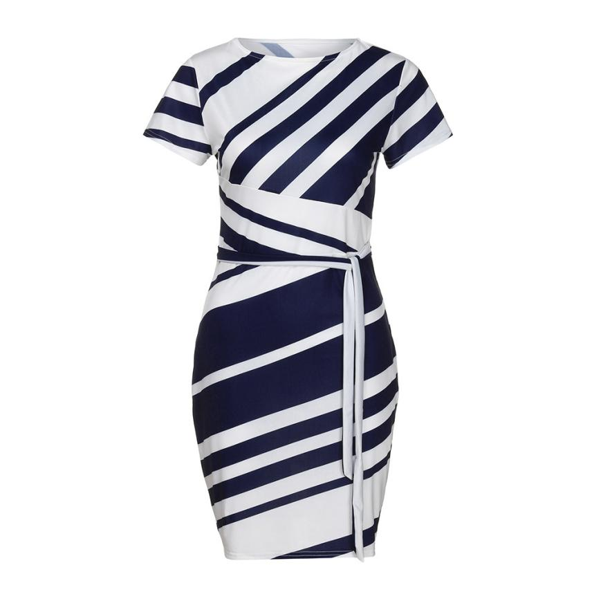 HTB1BS4nt9BYBeNjy0Feq6znmFXaT KANCOOLD dress Summer fashion Women's Working Pencil Stripe Party Casual O-Neck Mini high quality dress women 2018MA27