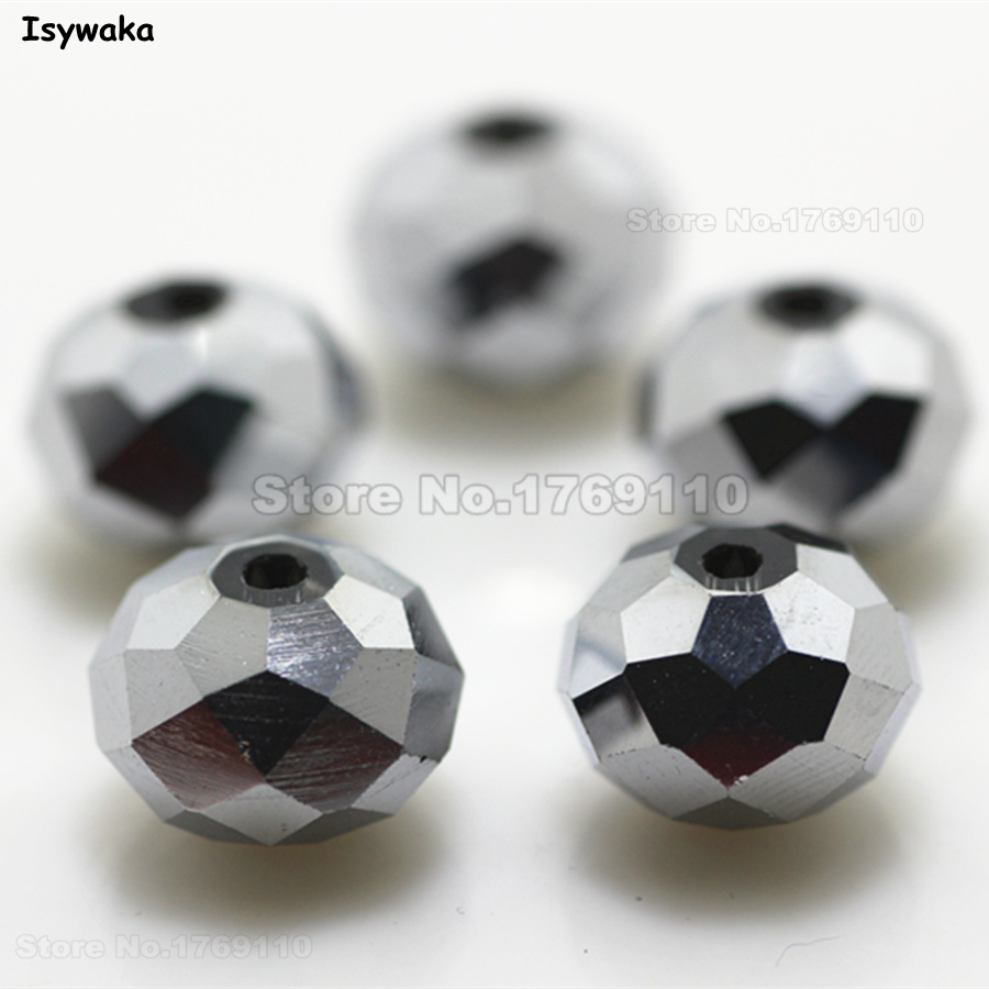 Isywaka Shining Silver Color 10 12mm 70pcs Rondelle Austria faceted Crystal  Glass Beads Loose Spacer Beads for Jewelry Making e8e9e0b89512