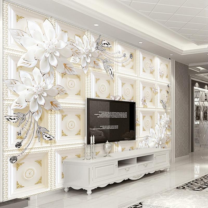Custom 3D Photo Wallpaper Beautiful Stereo Jewelry Flower TV Wall Mural Living Room Bedroom Canvas Mural Waterproof 3D Wallpaper