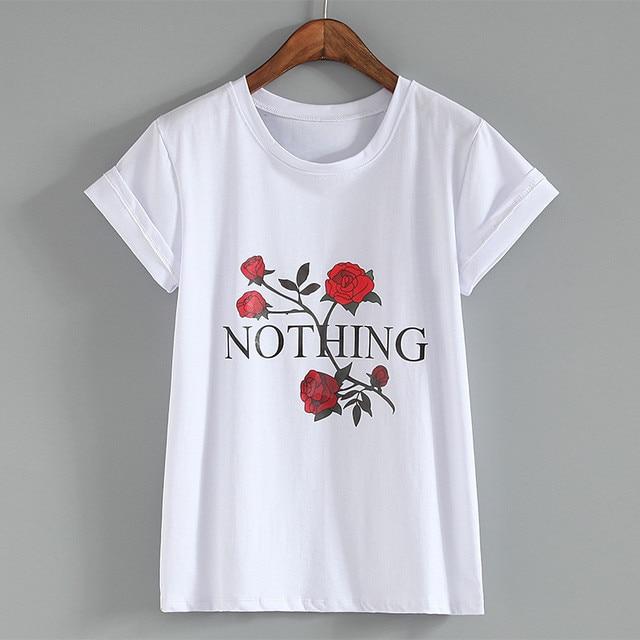 d92129192242 Nothing Letter Print T Shirt Rose Harajuku T-Shirt Women 2018 Summer Casual  Short Sleeve