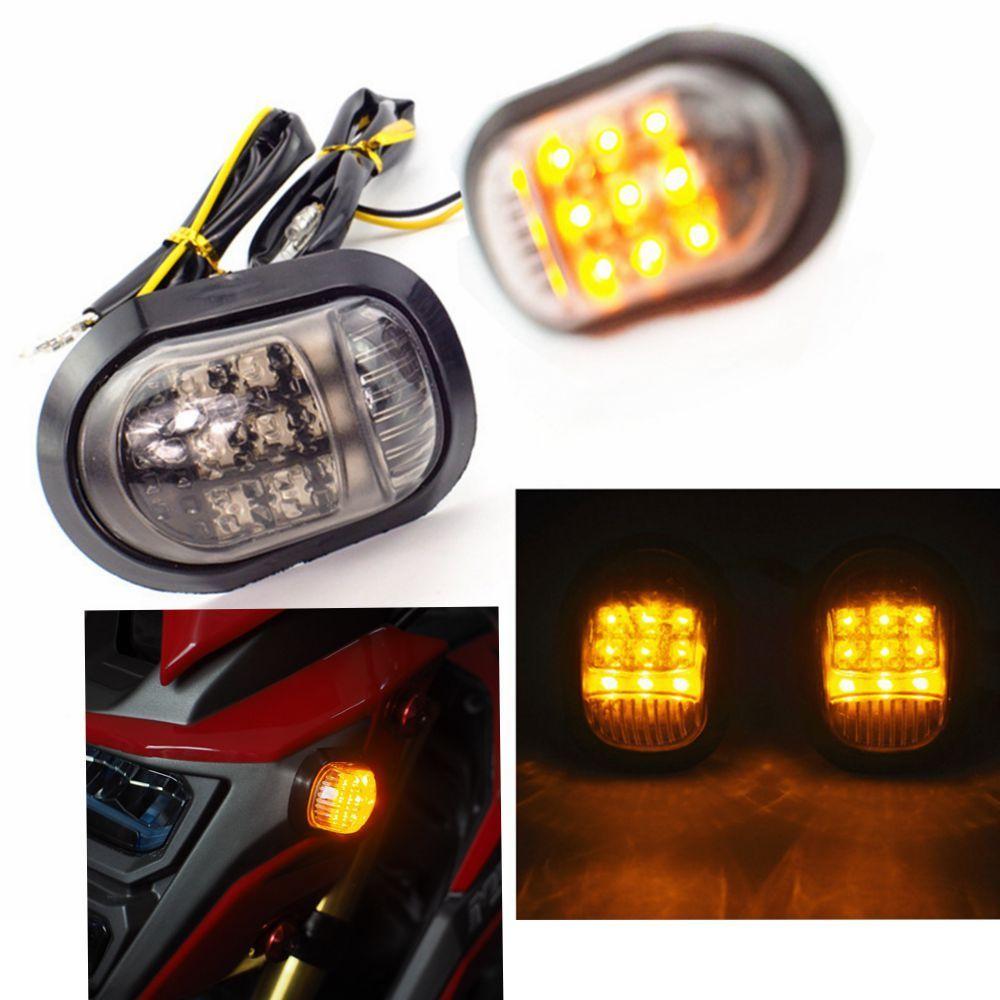 NEW 2PCS Smoke Cover Motocycle 12v LED Turn Signal Light Indicators for Honda Grom MSX125 Honda Grom