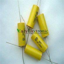 Condensadores de película de poliéster Axial amarillo, cables largos, electrónica, 1,0 uF, 630V, fr, tubo amp audio, 50 Uds., venta al por mayor, envío gratis