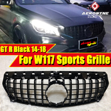 W117 GTS Style Front Bumper Grille ABS black Fits For MercedesMB CLA Class CLA180 200 250 Sports Grills without sign 14-18