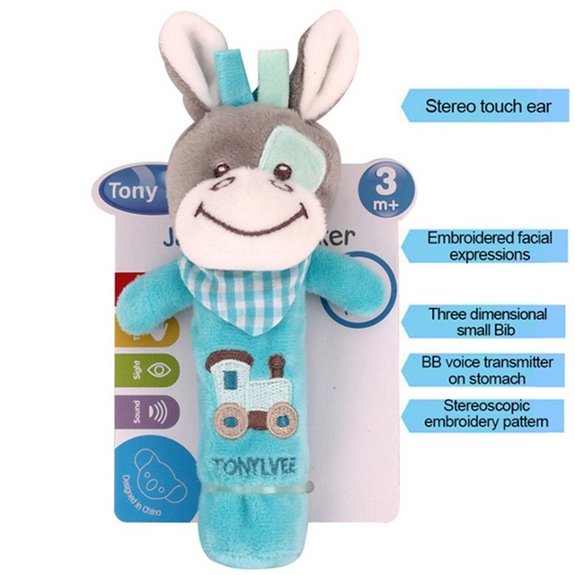 Newborn Rattle Ring Bell Baby Cartoon Animal Rattle Cute Plush Animal Hand Bells Infant Early Educational Doll Toy Y13