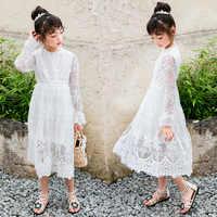 Vestido de fiesta de princesa para niñas, Vestido largo de encaje Floral, ropa blanca de verano, 2019