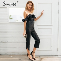 Simplee Sexy Off Shoulder Backless Black Jumpsuit Women Tiered Ruffle High Waist Jumpsuit Romper Pocket Casual