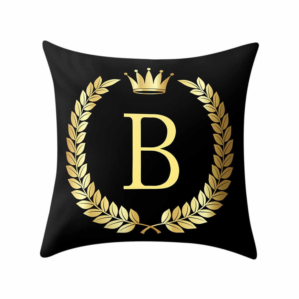 ISHOWTIENDA 2019 Yastık Kapağı Siyah ve altın harf Yastık Kanepe minder kılıfı Dekor Sıcak satış