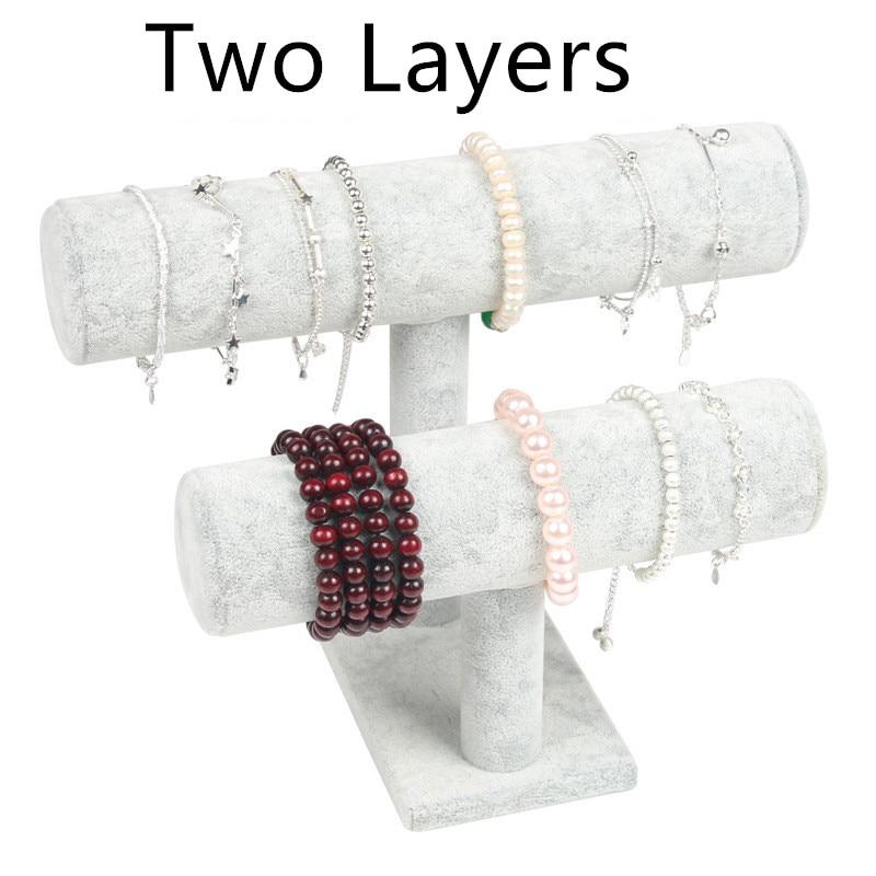 1pcs High Quality Vintage PU Leather / Velvet Bracelet Chain Watch T-Bar Rack Jewelry Organizer Hard Display Stand Holder