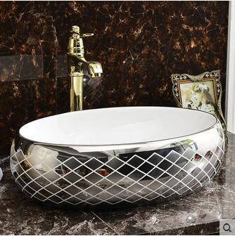 Geleerd Wei Yu De Ovale Tafel Wastafel Om Art Keramische Lavabo Bekken Van Het Bekken Dat Een Gezicht Zilver Wastafel Modern Ontwerp