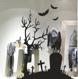 cemetery halloween wall stickers wall decor wall decal window glass stickers - Halloween Cemetery Decorations