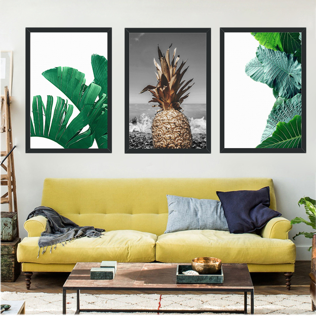 Realistic Style Canvas Painting Pineapple Green Plants Wall Art ...