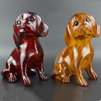 handmade wood carved dog figurine ornaments wood decoration furniture wooden animal sculpture wooden handicraft home decors