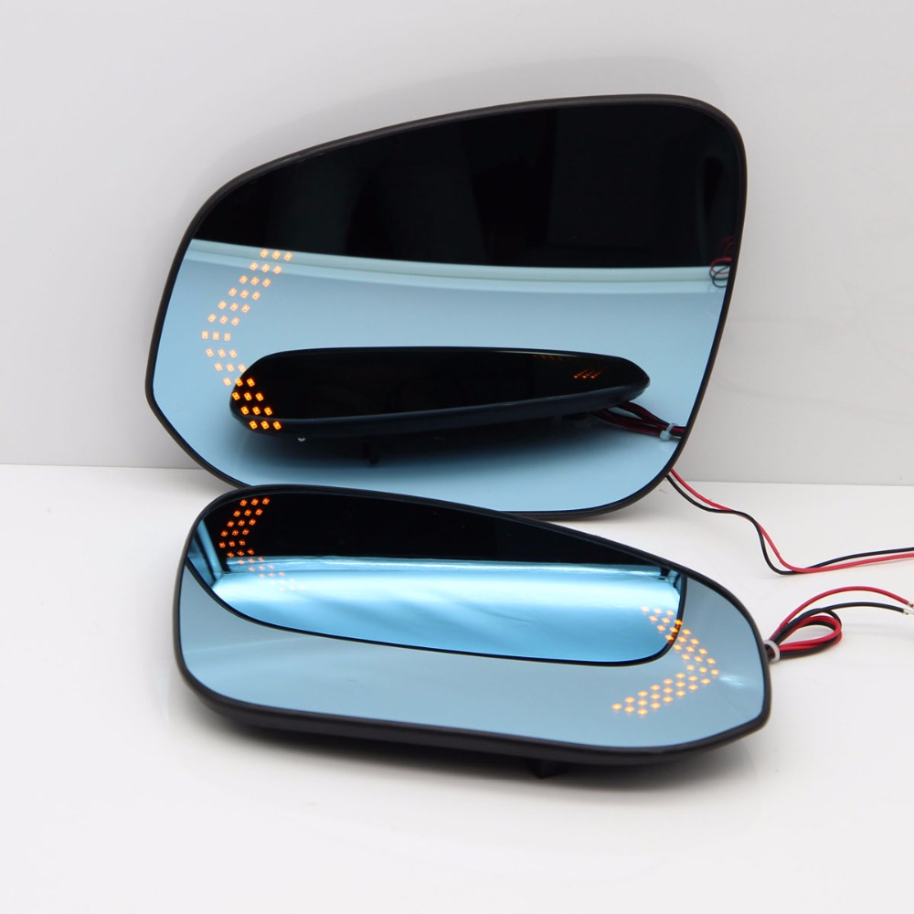 Blue Wing Mirror Glass With Base-Heated Car Angle Wide Glare Proof Mirror LED Turn Signal Lamp For Toyota Highlander 2015-2017 original new arrival adidas men s football pants sportswear